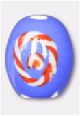 Perle en verre olive VO16b bleu x2