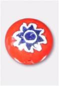 Perle en verre palet bombé MUR5 orange x4
