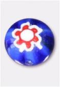Perle en verre palet bombé MUR5 bleu x4