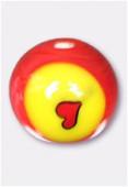 Perle en verre ronde MUR1a rouge x2