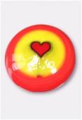 Perle en verre cabochon MUR6b rouge x2