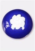 Perle en verre cabochon MUR6 bleu foncé x2