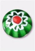 Perle en verre cabochon MUR5 émeraude x2