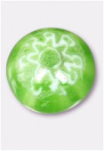 Perle en verre cabochon MUR5 vert clair x2