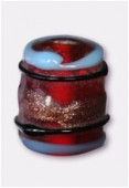 Perle en verre tube VTM23 rouge x4