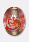 Perle en verre olive VO28 rosé x2