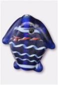 Perle en verre poisson VP38 bleu foncé mat x2