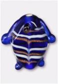 Perle en verre poisson VP34 bleu foncé x2