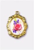 Médaille bouquet de fleurs or 19x16 mm x1