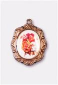 Médaille bouquet de roses cuivre 19x16 mm x1