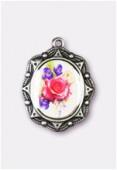 Médaille bouquet de fleurs argent vieilli 19x16 mm x1