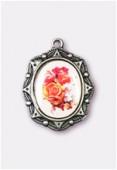 Médaille bouquet de roses argent vieilli 19x16 mm x1