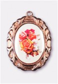 Médaille bouquet de roses cuivre 28x23 mm x1