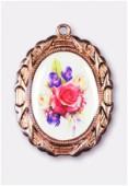 Médaille bouquet de fleurs cuivre 28x23 mm x1
