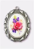 Médaille bouquet de fleurs argent vieilli 28x23 mm x1