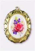 Médaille bouquet de fleurs or 28x23 mm x1