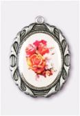Médaille bouquet de roses argent vieilli 28x23 mm x1