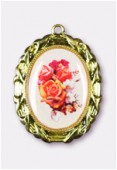 Médaille bouquet de roses or 28x23 mm x1