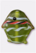 Perle en verre poisson VP38 olivine mat x2