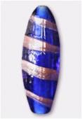 Perle en verre tube VTA8 bleu foncé x1