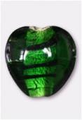 Perle en verre coeur VAR6 émeraude x1