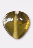 Perle en verre coeur VS4 kaki x8