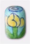 Tube en terre émaillée TE13 turquoise / jaune x1