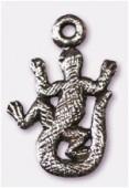 Breloque en métal lézard 12x20 mm argent vieilli x2