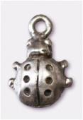 Breloque en métal coccinelle 10x16 mm argent vieilli x4