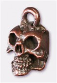 Breloque en métal tête de mort 8x13 mm cuivre x1
