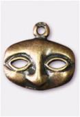 Breloque en métal masque 12x14 mm bronze x2