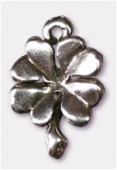 Breloque en métal trèfle à 4 feuilles 12x14 mm argent vieilli x2
