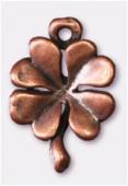 Breloque en métal trèfle à 4 feuilles 12x14 mm cuivre x2