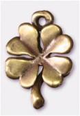 Breloque en métal trèfle à 4 feuilles 12x14 mm bronze x2