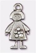 Breloque en métal fille 11x20 mm argent vieilli x2