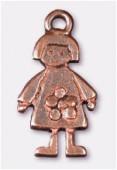 Breloque en métal fille 11x20 mm cuivre x2
