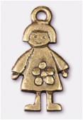 Breloque en métal fille 11x20 mm bronze x2
