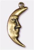 Breloque en métal lune 7x25 mm bronze x2