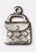 Breloque en métal sac à main 12x17 mm argent vieilli x2