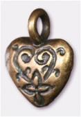 Breloque en métal coeur 12x15 mm bronze x2