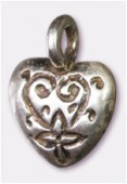 Breloque en métal coeur 12x15 mm argent vieilli x2