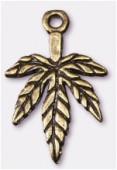 Breloque en métal feuille 13x20 mm bronze x4