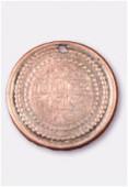 Breloque en métal sequin gravé 25 mm cuivre x1