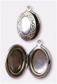 Breloque en métal porte photo ovale 16x25 mm argent vieilli x1