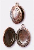 Breloque en métal porte photo ovale 16x25 mm cuivre x1