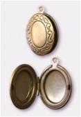 Breloque en métal porte photo ovale 16x25 mm bronze x1