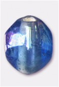 Perle en verre olive VS10 bleu clair irisé x8