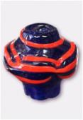 Perle en verre forme VF1 bleu foncé / orange x1