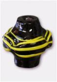 Perle en verre forme VF1 noir / jaune x1