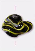 Perle en verre forme VF11 noir / jaune x1